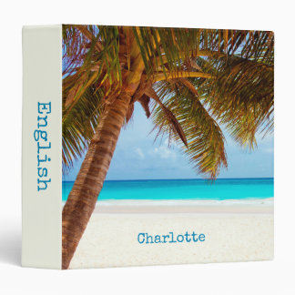 Personalized Tropical Relaxing Blue Beach Scene Vinyl Binder