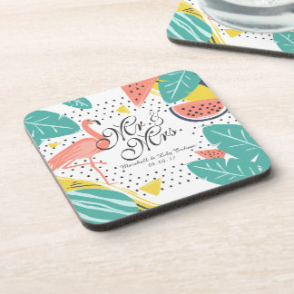 Personalized Tropical Summer Wedding | Coaster