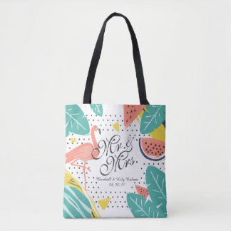 Personalized Tropical Summer Wedding Tote Bag