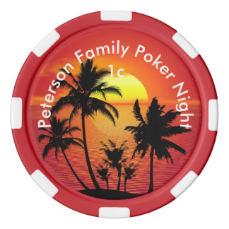 Personalized Tropical Sunset Poker Chips