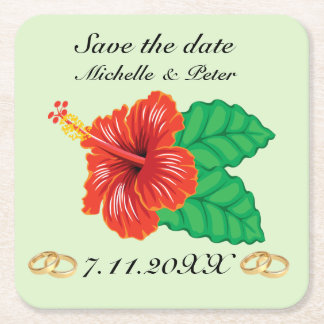 "Personalized Tropical Wedding ""Save The Date"" Square Paper Coaster"