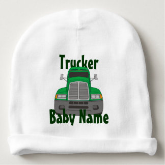 Personalized Trucker Name Green Truck Baby Beanie