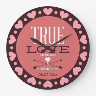 Personalized True Love Wedding Gift Large Clock