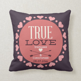 Personalized True Love Wedding Gift Throw Pillow
