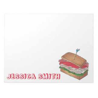 Personalized Turkey Club Sandwich Diner Food Gift Notepad