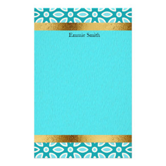 Personalized Turquoise and Gold Stationery