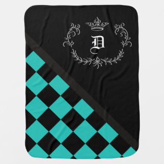 Personalized Turquoise Black Checkerboard Crown Baby Blanket