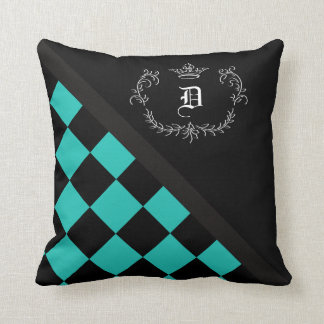 Personalized Turquoise Black Checkerboard Crown Throw Pillow
