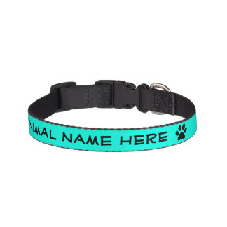 Personalized Turquoise Black Pawprint Pet Collar