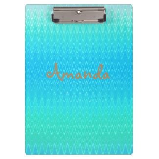 Personalized Turquoise Blue Green Abstract Pattern Clipboard