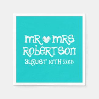 Personalized turquoise blue mr mrs wedding napkins