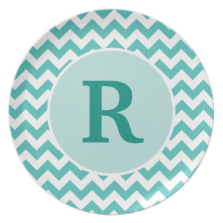Personalized Turquoise Chevron Plate