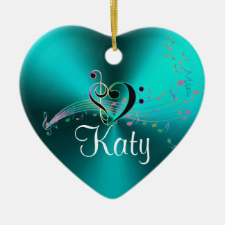 Personalized Turquoise Music Notes Holiday Heart Ceramic Heart Ornament