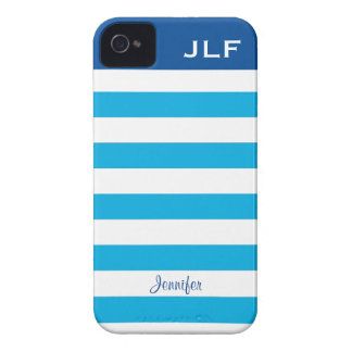 Personalized turquoise & navy striped iPhone 4/4s Case-Mate iPhone 4 Cases