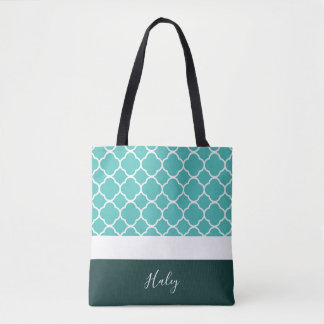 Personalized Turquoise Quatrefoil with Dark Bottom Tote Bag