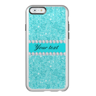 Personalized Turquoise Sequins and Diamonds Incipio Feather® Shine iPhone 6 Case
