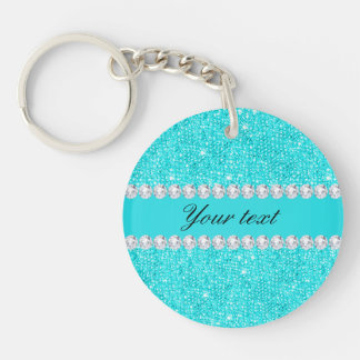 Personalized Turquoise Sequins and Diamonds Keychain
