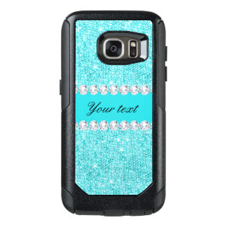 Personalized Turquoise Sequins and Diamonds OtterBox Samsung Galaxy S7 Case