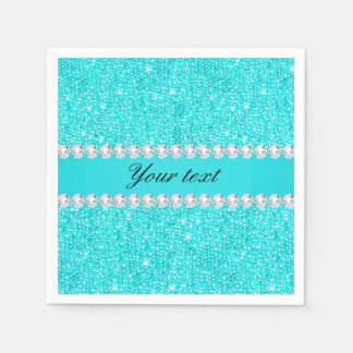 Personalized Turquoise Sequins and Diamonds Paper Napkins