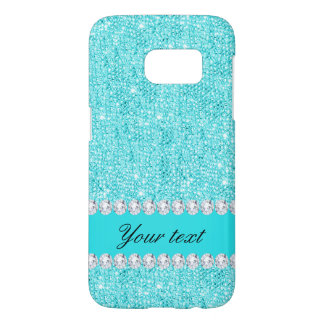 Personalized Turquoise Sequins and Diamonds Samsung Galaxy S7 Case