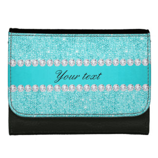 Personalized Turquoise Sequins and Diamonds Wallets