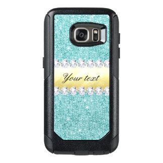 Personalized Turquoise Sequins Gold Diamonds OtterBox Samsung Galaxy S7 Case