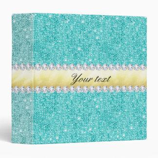 Personalized Turquoise Sequins Gold Diamonds Vinyl Binder