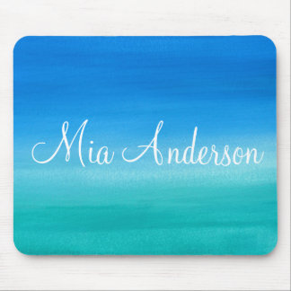 Personalized Turquoise Teal Watercolor Brushstroke Mouse Pad
