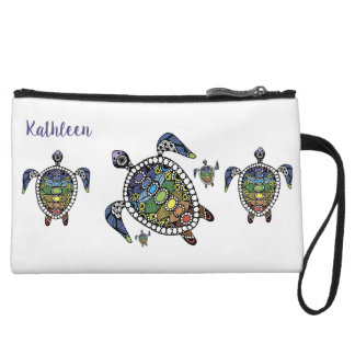 Personalized Turtle Chakras Wristlet