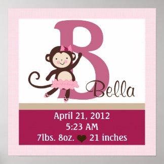 Personalized Tutu/Monkey/CuteBirth Info Poster