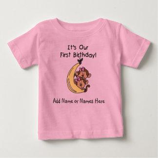 Personalized  Twin Girls Monkey Tshirt