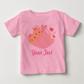 Personalized Twin Girls Pink Baby T-Shirt