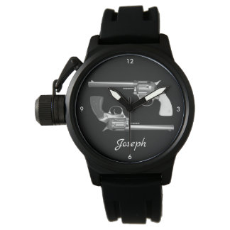 Personalized Twin Revolvers in Black and White Watch