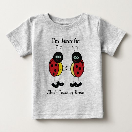 Personalized Twins Ladybug Friends Baby T Shirt