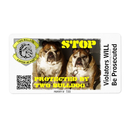 Personalized Two Bulldog Brand STOP Stickers Shipping Label