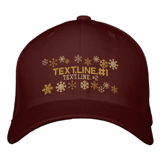 Personalized Two Text Lines Snowflakes Winter Embroidered Hats