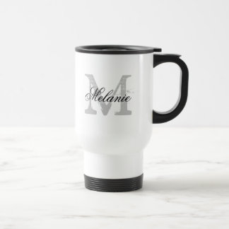 Personalized typography monogram to go travel mug