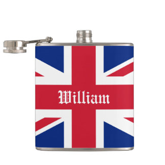 Personalized UK Union Jack British Flag Hip Flask