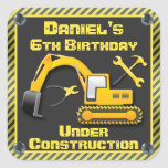 Personalized Under Construction Birthday Party Square Stickers