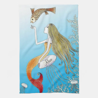 Personalized under the sea beautiful mermaid kitchen towel