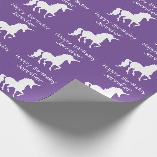 Personalized Unicorn Pattern Girls Birthday Purple