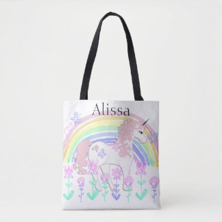 Personalized Unicorn & Rainbows Child's Tote Bag