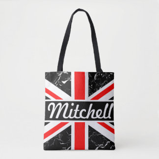 Personalized Union Jack Black Marbled Tote Bag