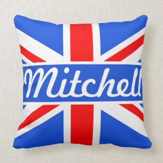 Personalized Union Jack Blue Throw Pillow