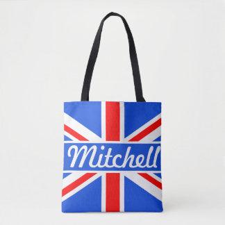 Personalized Union Jack Blue Tote Bag
