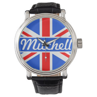 Personalized Union Jack Blue Watch
