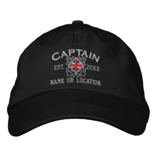 Personalized Union Jack Captain Nautical Embroidered Hat