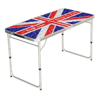 Personalized Union Jack Flag Design Pong Table