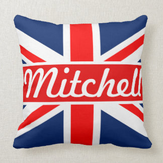 Personalized Union Jack Throw Pillow