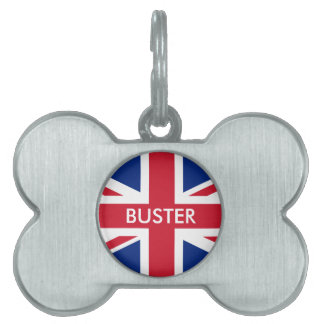 Personalized United Kingdom flag Pet Name Tag